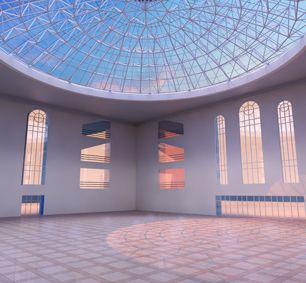 Nigeria Prefab Steel Structure Modern Church Glass Dome Roof