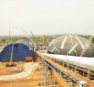 TKIS-Burkina Faso Space Frame Barrel Clinker Storage Shed &Dome Additive Storage Shed